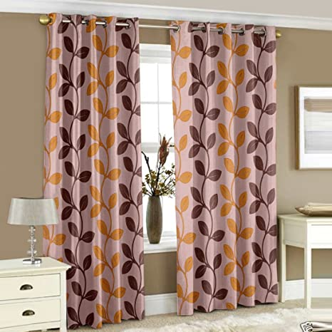 Story@Home Happiness Natural Pattern 2 Piece Polyster Curtain Set - 5ft, Brown Curtains at amazon