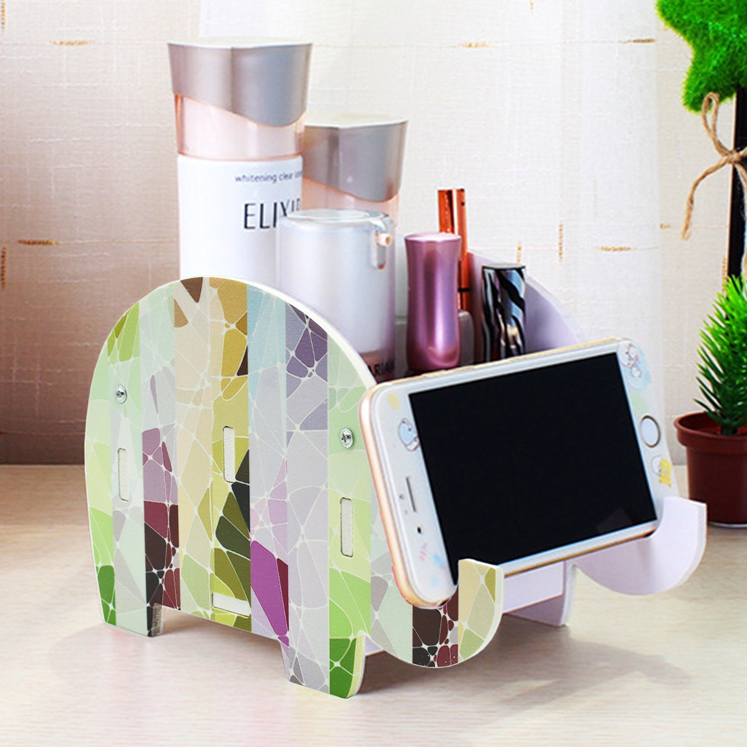 (B: Striped Elephant) Desk Supplies Organiser, Mokani Creative Elephant Pencil Holder Multifunctional Office Accessories Desk Decoration with Cell Phone Stand Tablet Desk Bracket for iPad iPhone Smartphone and more B07BJGS54T B: Striped Elephant B: Striped Elephant