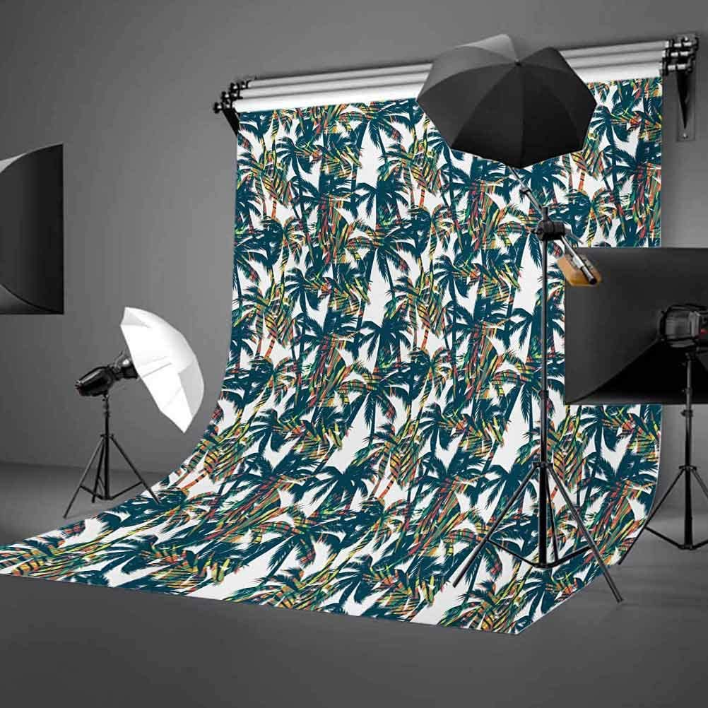 Palm Leaf 10x15 FT Backdrop Photographers,Vintage Pattern with Trees Colorful Design Elements Exotic Dreamy Hawaii Background for Party Home Decor Outdoorsy Theme Vinyl Shoot Props White Black Red