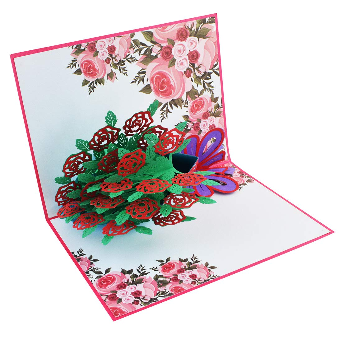 Tongcloud Pop Up 3D Card,3D Greeting Cards,Mother's Day Cards,Red Rose Bouquet Pop Up Cards with Envelope Sticker for Birthday, Wedding, Thank You