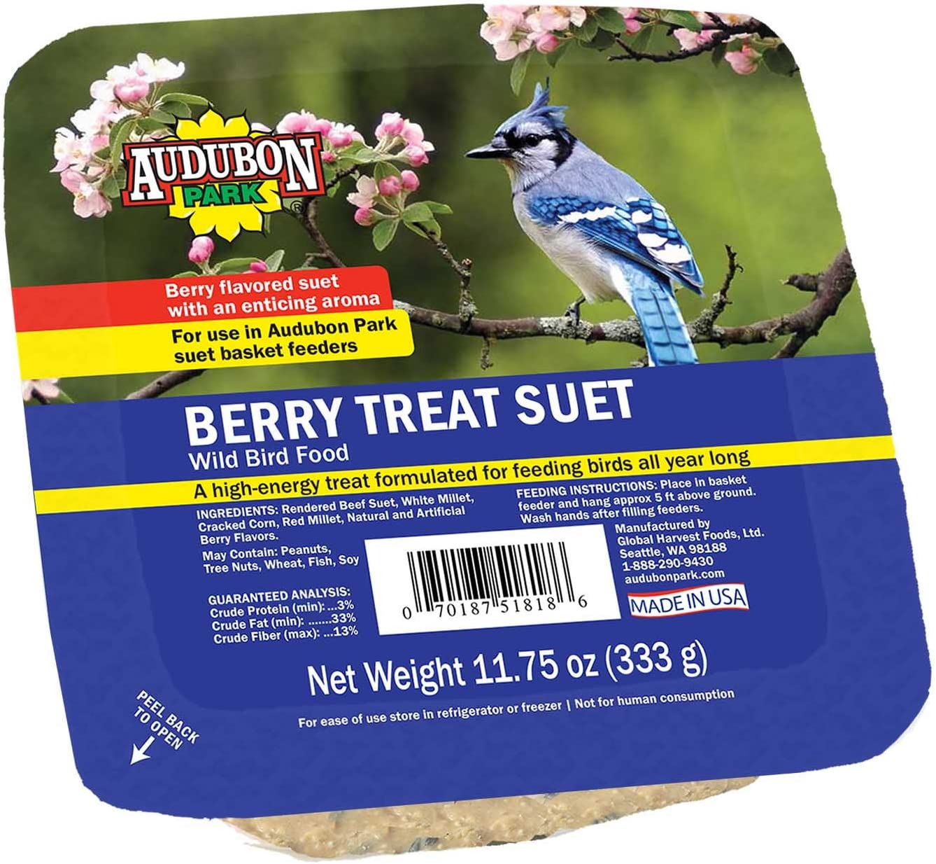 Audubon Park 13066 Berry Treat Suet Cake Wild Bird Food, 11.75-Ounces
