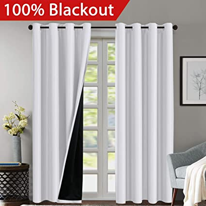 complete blackout curtains black out 100 blackout white curtains for bedroom 84 inches long thermal insulated amazoncom long
