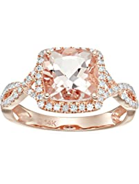 14k Rose Gold Morganite and Diamond Cushion Infinity Shank Engagement Ring (1/4cttw, H-I Color, SI1-SI2 Clarity)