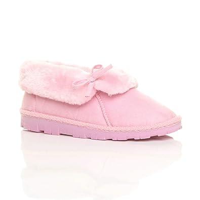 Ajvani Womens Ladies Winter Fur Lined Luxury Slip on Ankle Booties Slippers Size  3 36 Pink 6dee29c07
