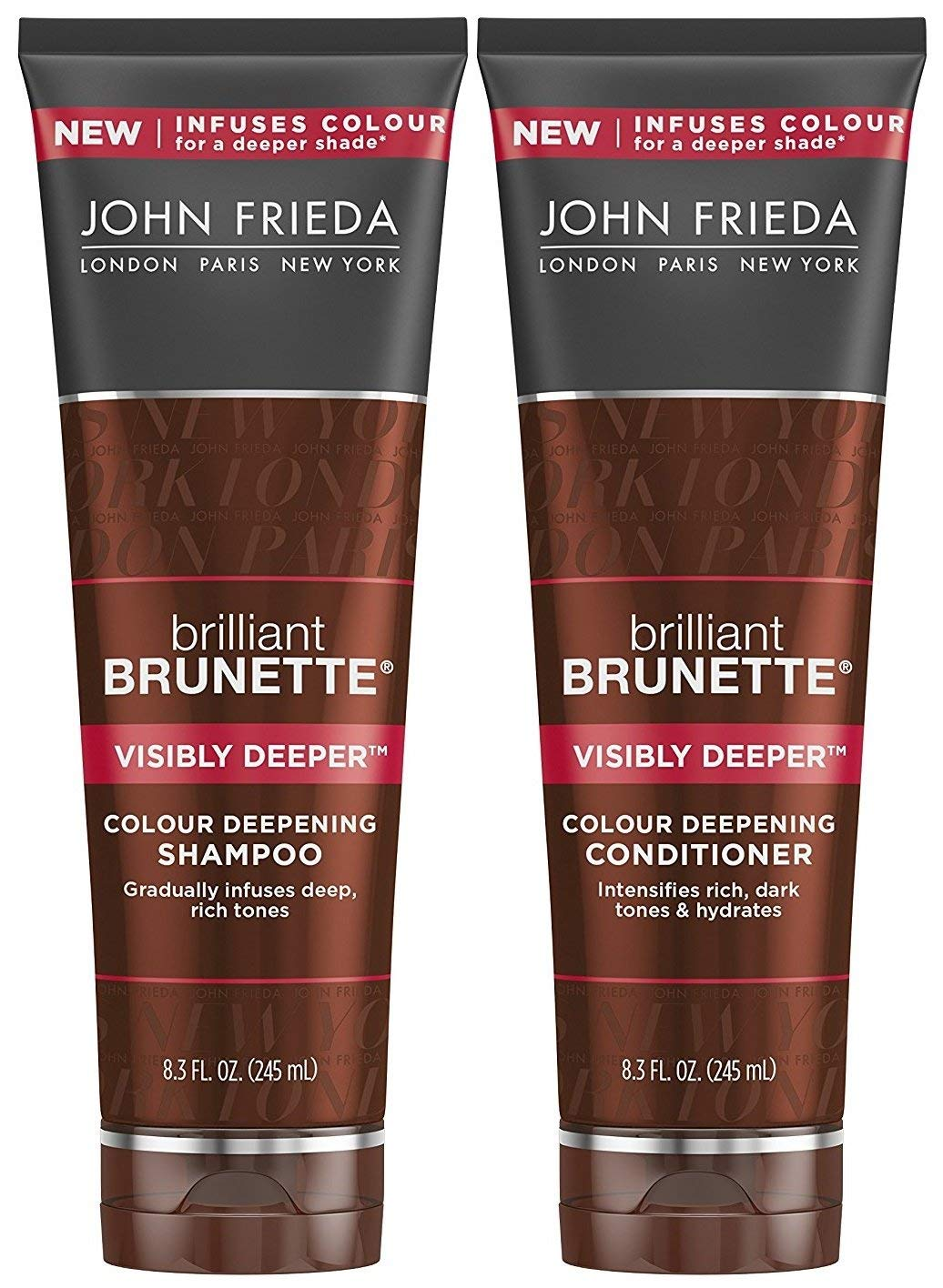 John Frieda Brilliant Brunette Visibly Deeper Bundle: Color Deepening Shampoo & Conditioner, 8.3 Ounce Each
