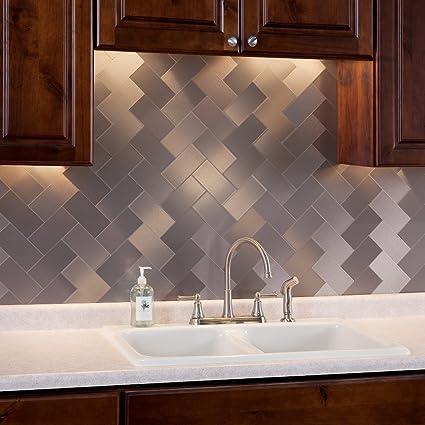Aspect Peel And Stick Backsplash 3in X 6in Brushed Stainless Long Grain  Metal Tile 15 Sq Nice Design