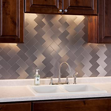 Aspect Peel And Stick Backsplash 3in X 6in Brushed Stainless Long Grain Metal Tile 15 Sq