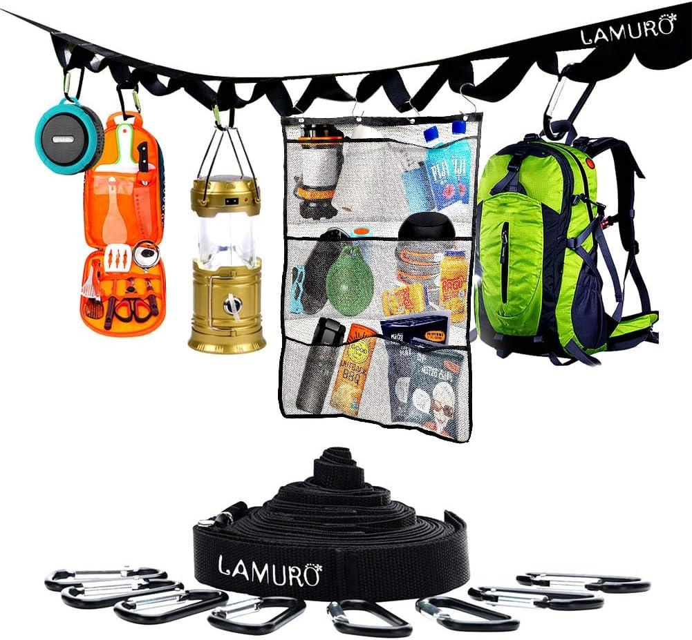 LAMURO Hanging Mesh Camping Organizer Storage Bag with Camping Storage Strap; Portable Mesh Caddy Shampoo Holder Organizer; 6 Pocket Storage Caddy Hanging Organizer and Storage Strap with 8 Hooks