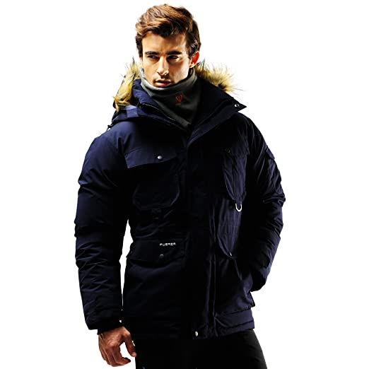 Fuerza Mens Winter Down Wellon Special Collection Raccoon Hooded Parka  Jacket (Small): Amazon.ca: Clothing & Accessories
