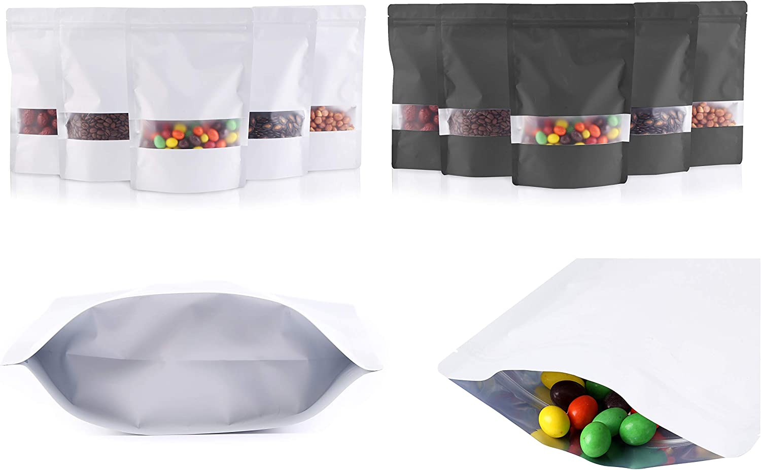 Big Size Black and White Mylar Ziplock Bag Smell Proof Food Storage Bags with Clear Window Display Stand-Up Pouch Heat Sealable Ziplock Bag (25 Black and 25 White)