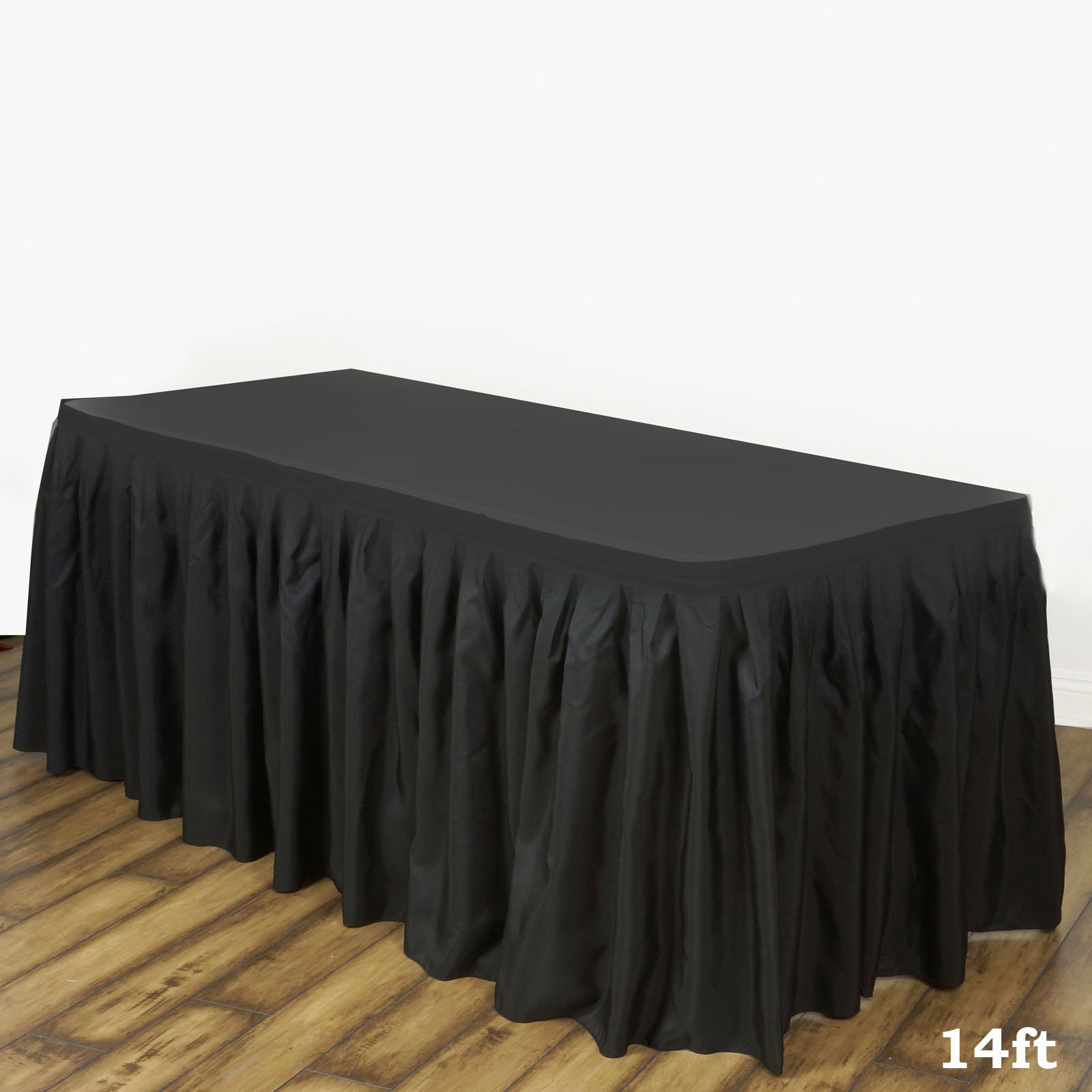 LinenTablecloth 14 ft. Accordion Pleat Polyester Table Skirt Black by LinenTablecloth (Image #1)