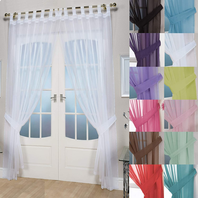 Plain Rod Pocket Voile Panels 4 Drops Loads of Colours  Polyester Free Tie-Back