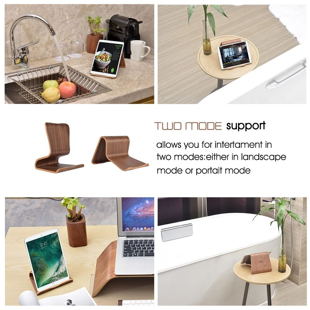 SAMDI Wood Tablet Holder Notebook Computer Stand, Black Walnut (SD-011Wa) by SAMDI (Image #6)