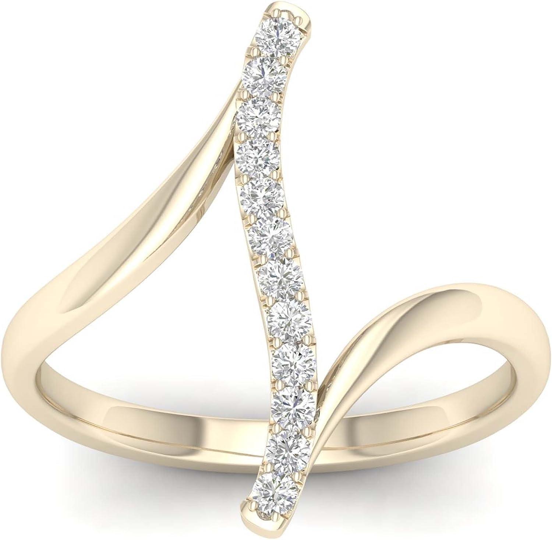 IGI CERTIFIED 10k Gold 1//6Ct TDW Diamond Curve Bypass Fashion Ring I-J,I2