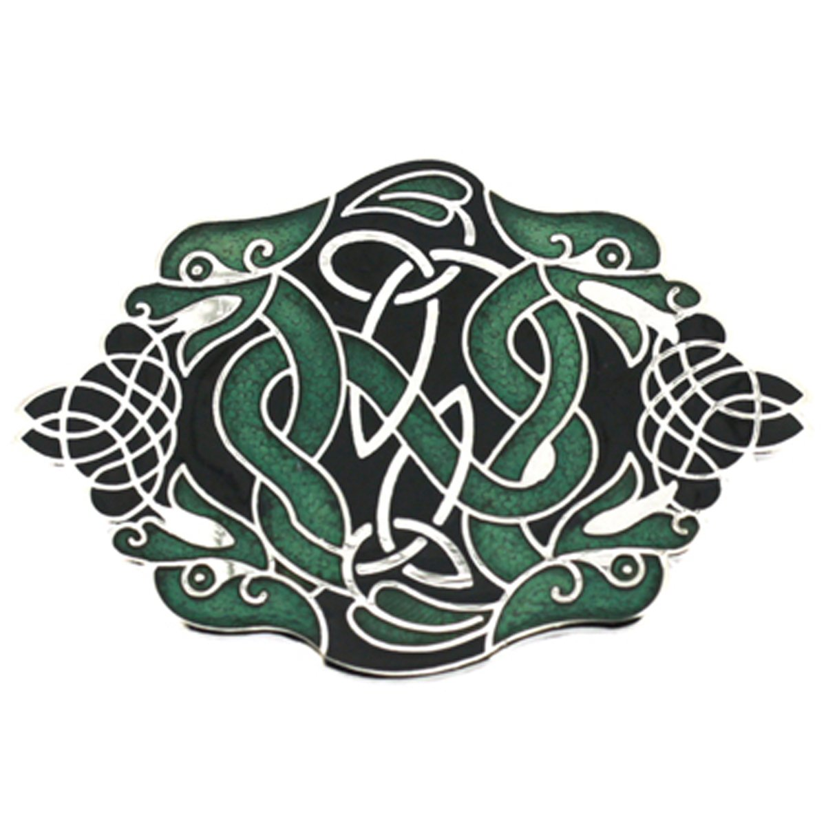 PYNK Jewellery Brooches Store Celtic Two Dragons Brooch Green Enamel and Silver 6980