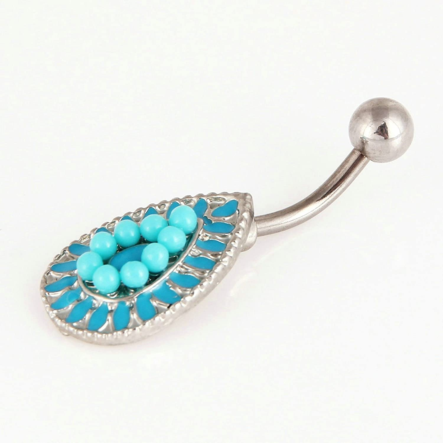 Aooaz Belly Button Piercing Rings Stainless Steel Water drop Belly Ring Body Piercing Body Piercing Blue