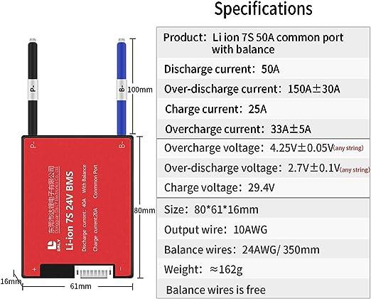 smart BMS 7S 24V 20A 30A 40A 50A li-ion Lithium battery protection board balance