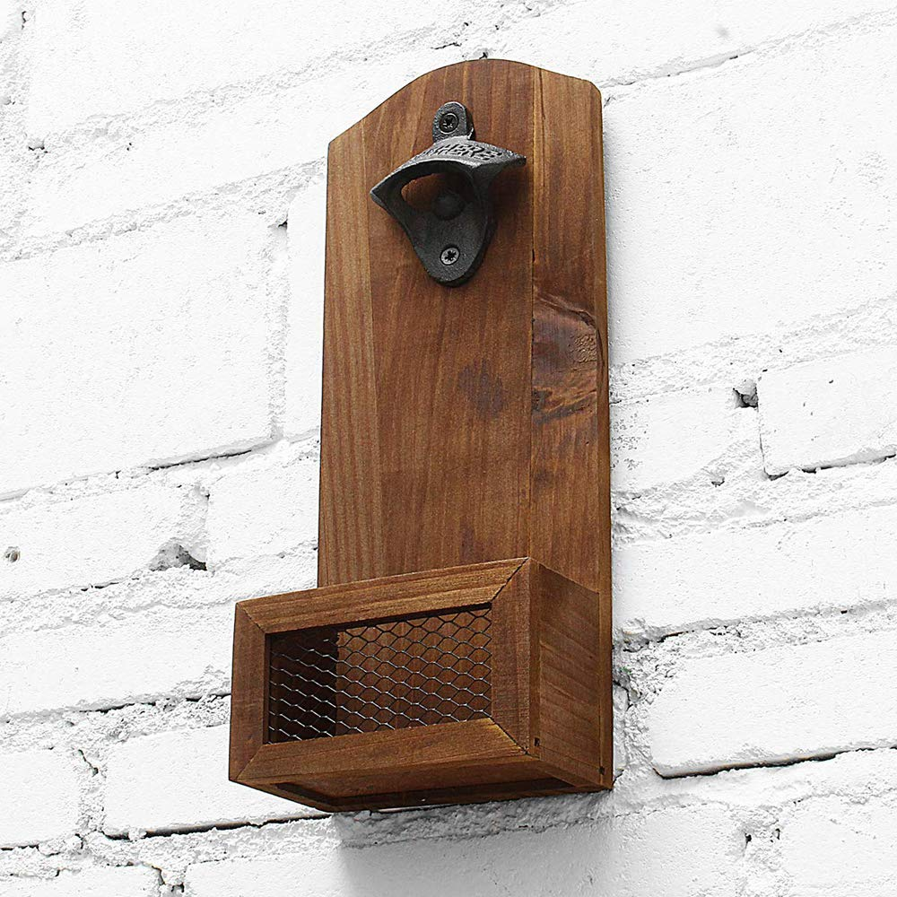 Bottle Opener with Cap Collector Catcher,Vintage Wooden Wall Mounted Bottle Opener,Ideal Gift for Men and Beer Lovers, Use as Bar Decoration.