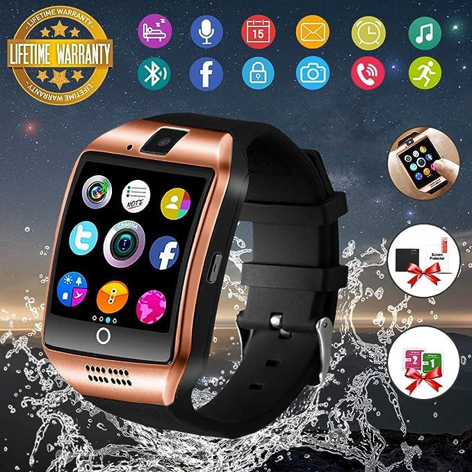 best service d45d7 377ba Smart Watch,Bluetooth Smartwatch Touch Screen Wrist Watch with Camera/SIM  Card Slot,Waterproof Smart Watch Sports Fitness Tracker Compatible with ...