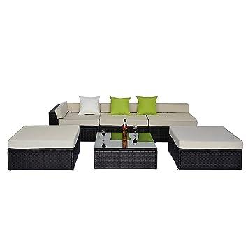 Salon de jardin complet modulable : canapé d\'angle et table basse ...