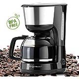 Aigostar Chocolate 30HIK – Cafetière à filtre sans BPA, capacité de 1,25 litres, 1000 watts, filtre permanent lavable et fonction maintenir au chaud. Couleur noir. Design exclusif.