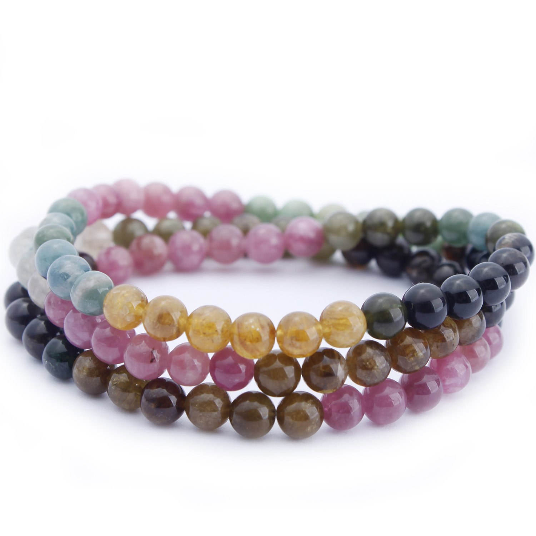 MOON FAIRY 6mm Layered Natural Colorful Tourmaline Elastic Beaded Bracelet : Rainbow Heaven