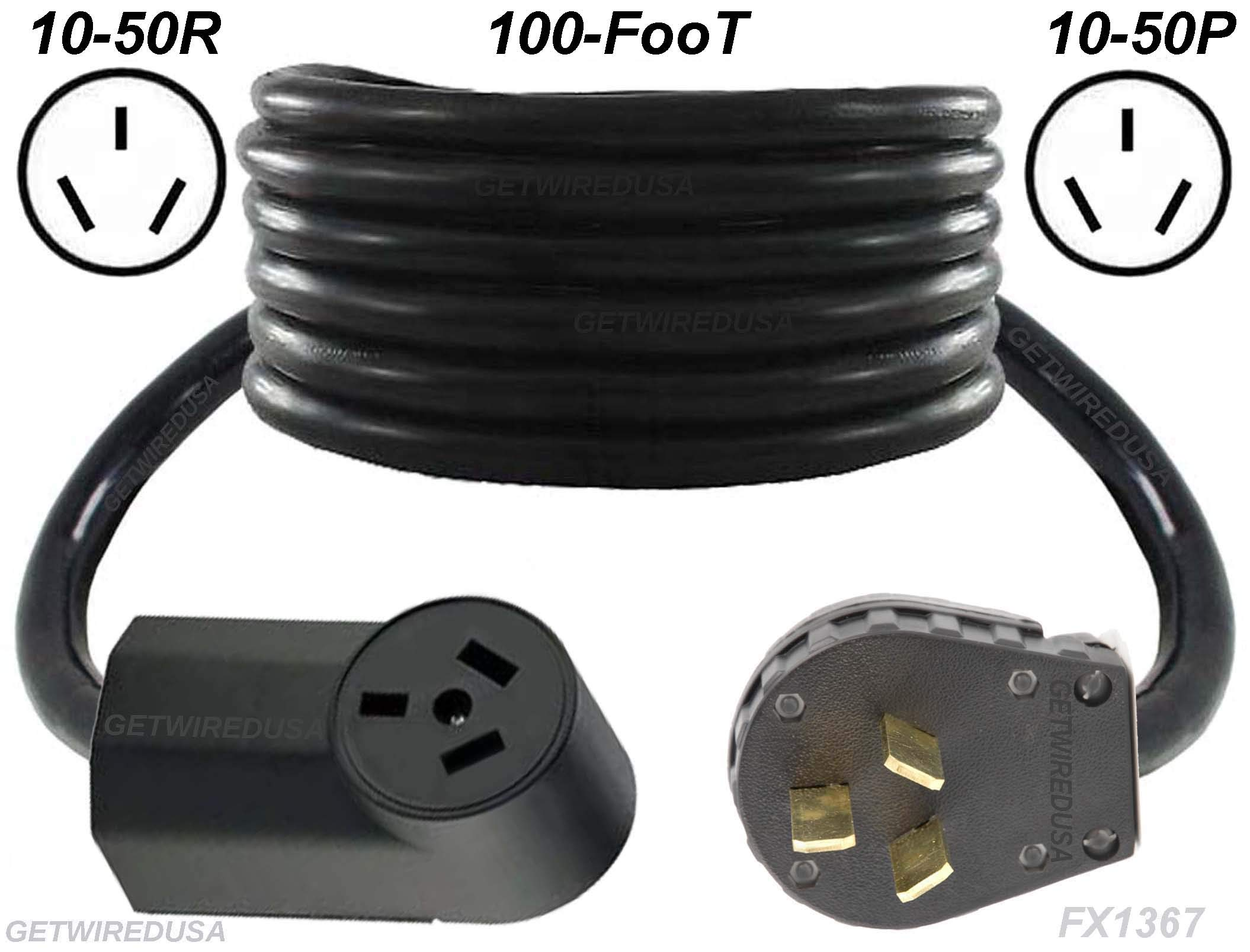 Range, Stove, Oven, 100-FT Extension Cord 10-50P Male 3-Pin Plug To 10-50R Female Receptacle, Heavy Duty, Real Copper Wire, 10/3 10AWG 10-Gauge, NEMA, 100-Feet Long, Made In American, FX1367-R by getwiredusa