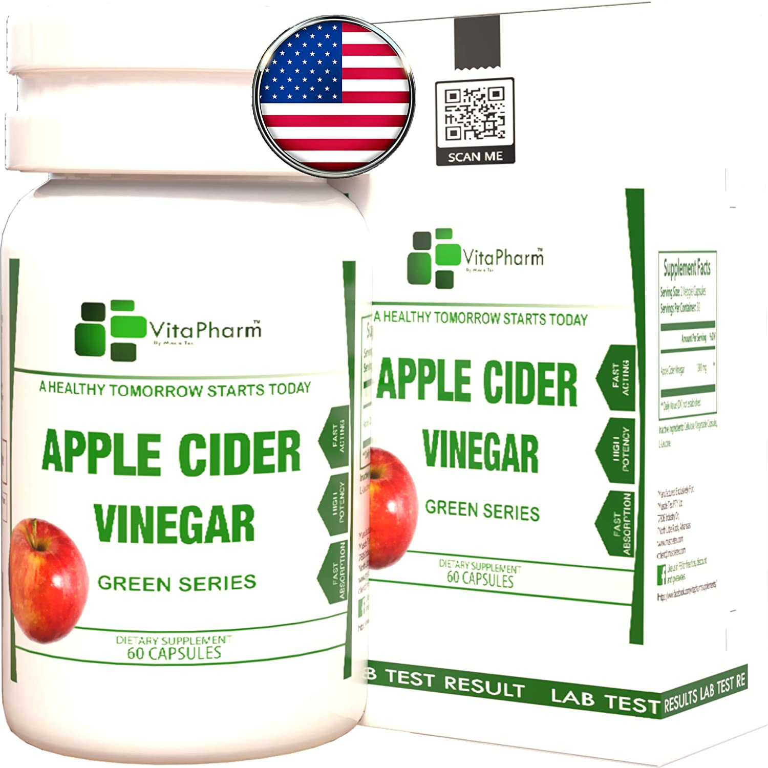 Apple Cider Vinegar Pills by VitaPharm Nutrition | 100% Natural Raw Capsules for Fast Weight Loss, Natural Detox Gut Cleanse & Healthy Digestion. Appetite Suppressant, Bloating Relief.