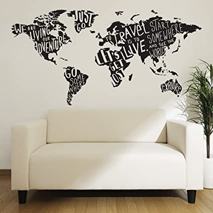 wall decals giant world map stickers for room decor easy to peel and stick
