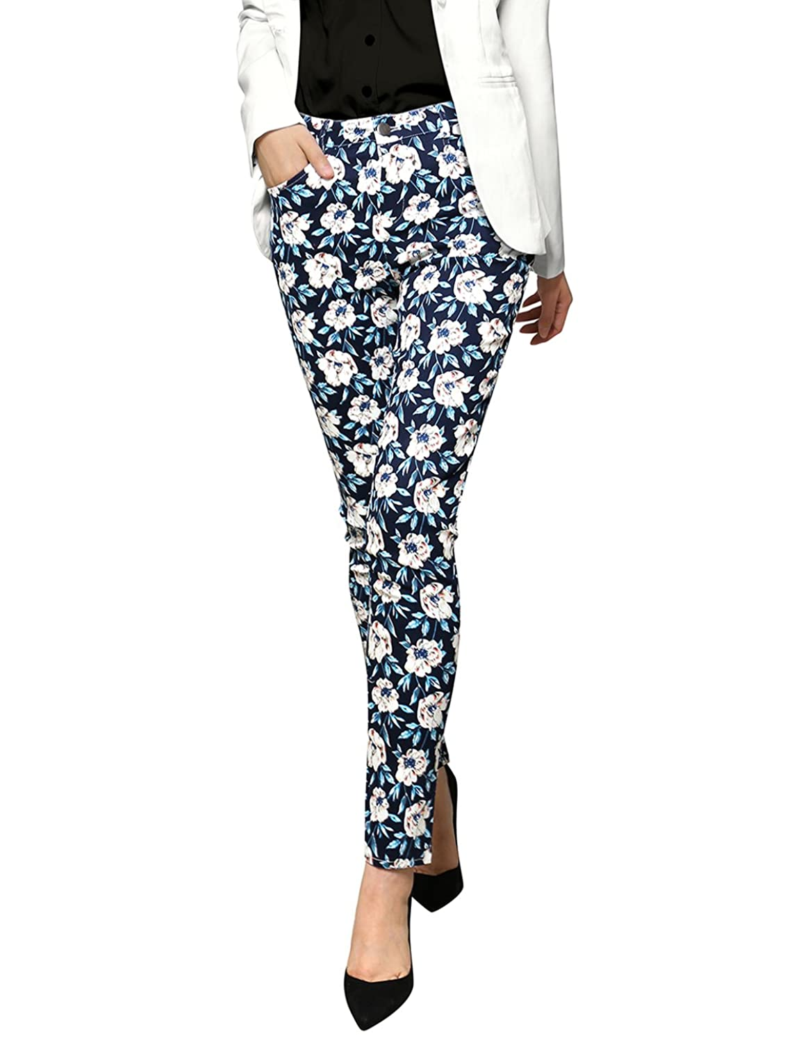 Allegra K Women's Floral Print Skinny Fit Stretch Casual Pants Trousers