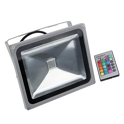 GZNIGHT 30 Watt RGB LED Waterpoof Outdoor Security Floodlight 24 Key IR Remote Control Spotlight