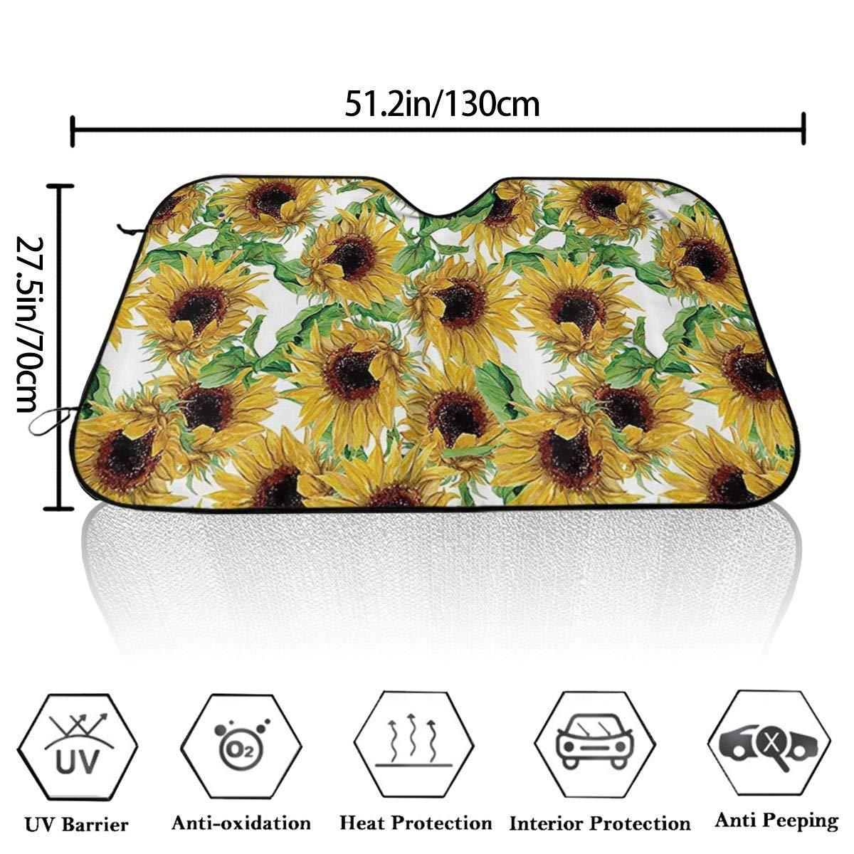 Dried Sunflowers Windshield Sun Shade Car Windows UV Ray Reflector Outdoor Vehicle Accessories