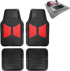 TLH Monster Eye Car Floor Mats Full Set Universal Fit, Red Color w/Non Slip Dash Pad