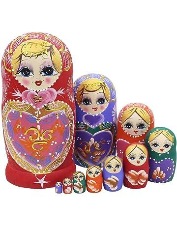 Winterworm Set de 10 Sweet corazón apilamiento juguete ruso muñeca hecho a mano de madera juguete