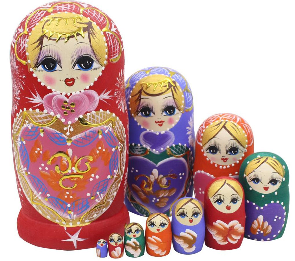 Perfect Mother's Day Gift 10pcs Beautiful Cutie Colorful Heart Shaped Wood Stacking Russian Nesting Wishing Dolls Matryoshka Kids Children Birthday Christmas Gifts Toy Home Desk Party Decoration