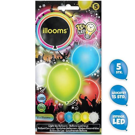 illooms LED Luftballons 15 Stück blau Leuchtende Ballons Hochzeit Das Original