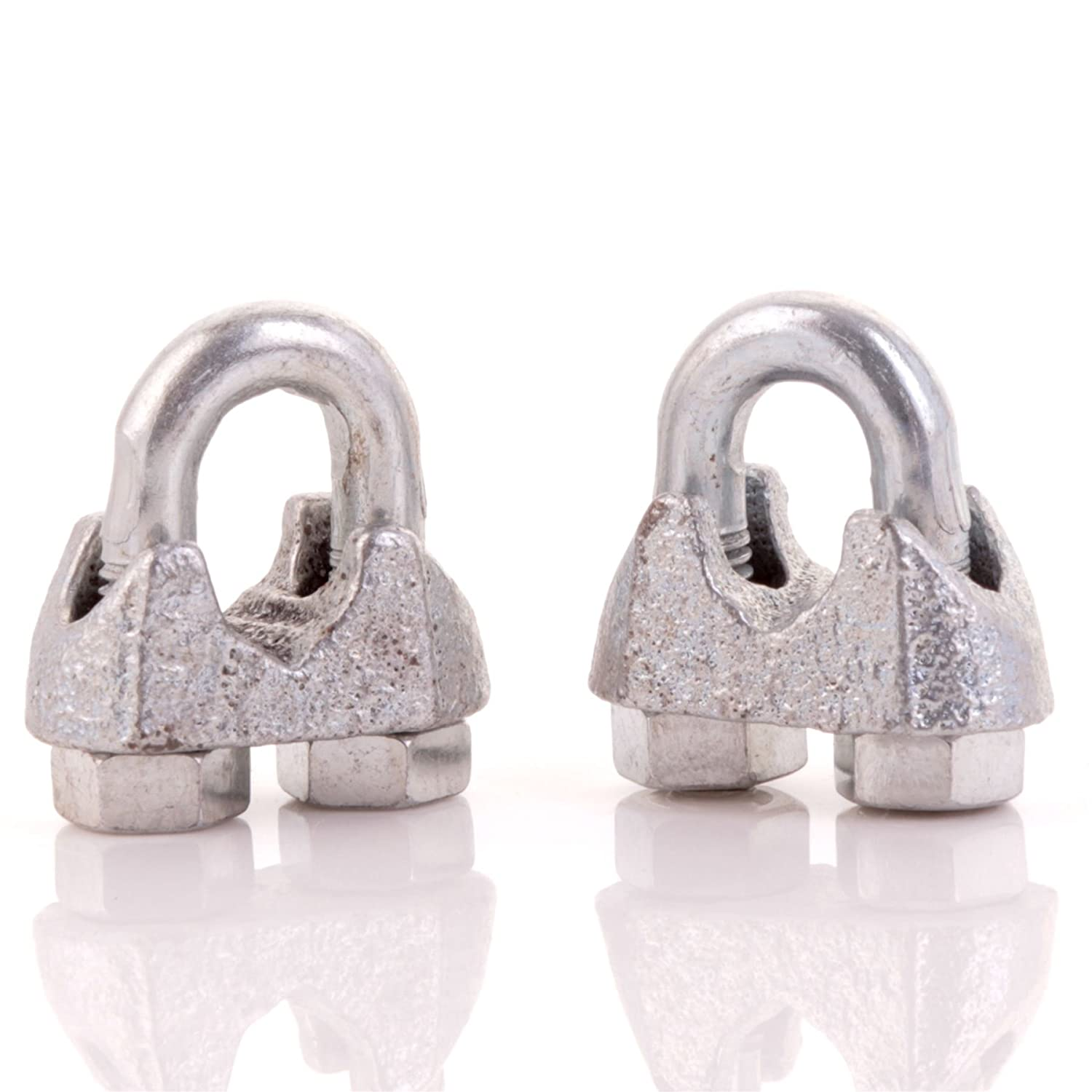 10x Heavy Duty Steel Rope Clamps I 5mm White Hinge