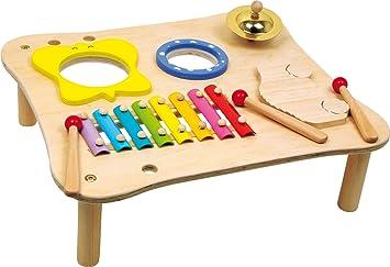 ab 3 Jahren Schelle inkl Xylophon Trommel und Holzschlegl small foot 1166 Musiktisch aus Holz Ratsche