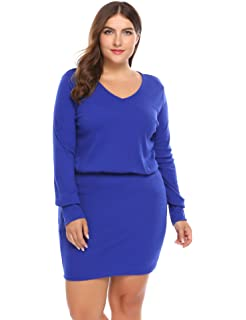 ca85c7eb5d IN VOLAND Involand Women Plus Size Knit Sweater Dress Basic Slim Fit ...