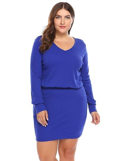 Involand Plus Size V Neck Long Sleeve Slim Fit Knit Sweater Dresses