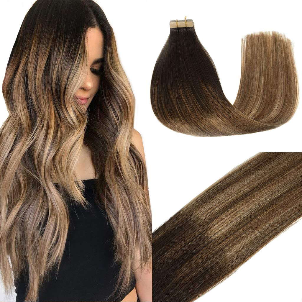 GOO GOO 50g 20pcs Human Hair Extensions Tape in Dark Brown to Light Brown  and Ash Blonde Balayage Hair Extensions Tape in Natural Hair Straight 20pcs
