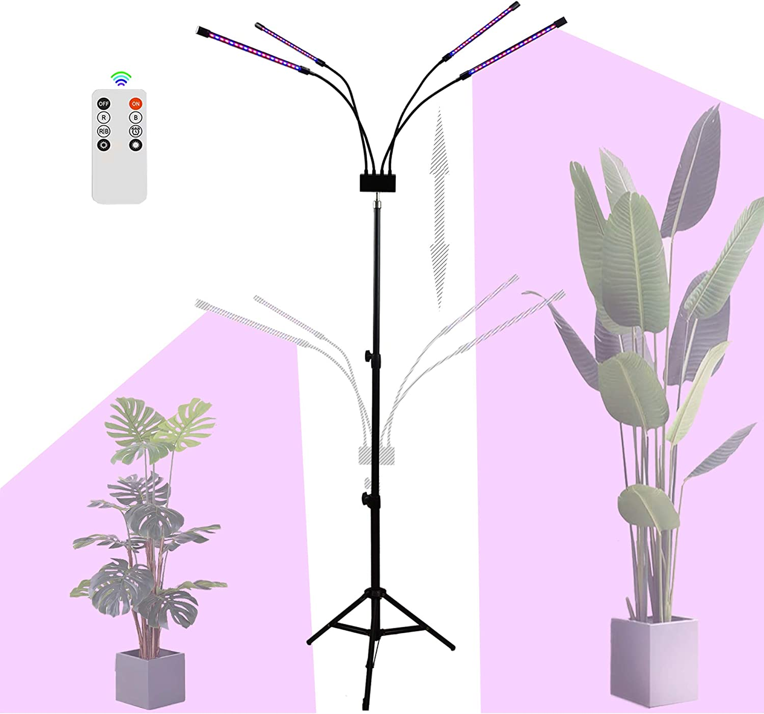 LED Grow Light Stand with Remote, AINEEDY 4 Head 40W 80 LED Floor Growing Lamp with Stand 3/9/12H Timer for Indoor Plant in Living Room, Flower House, Adjustable Tripod 27-59 in