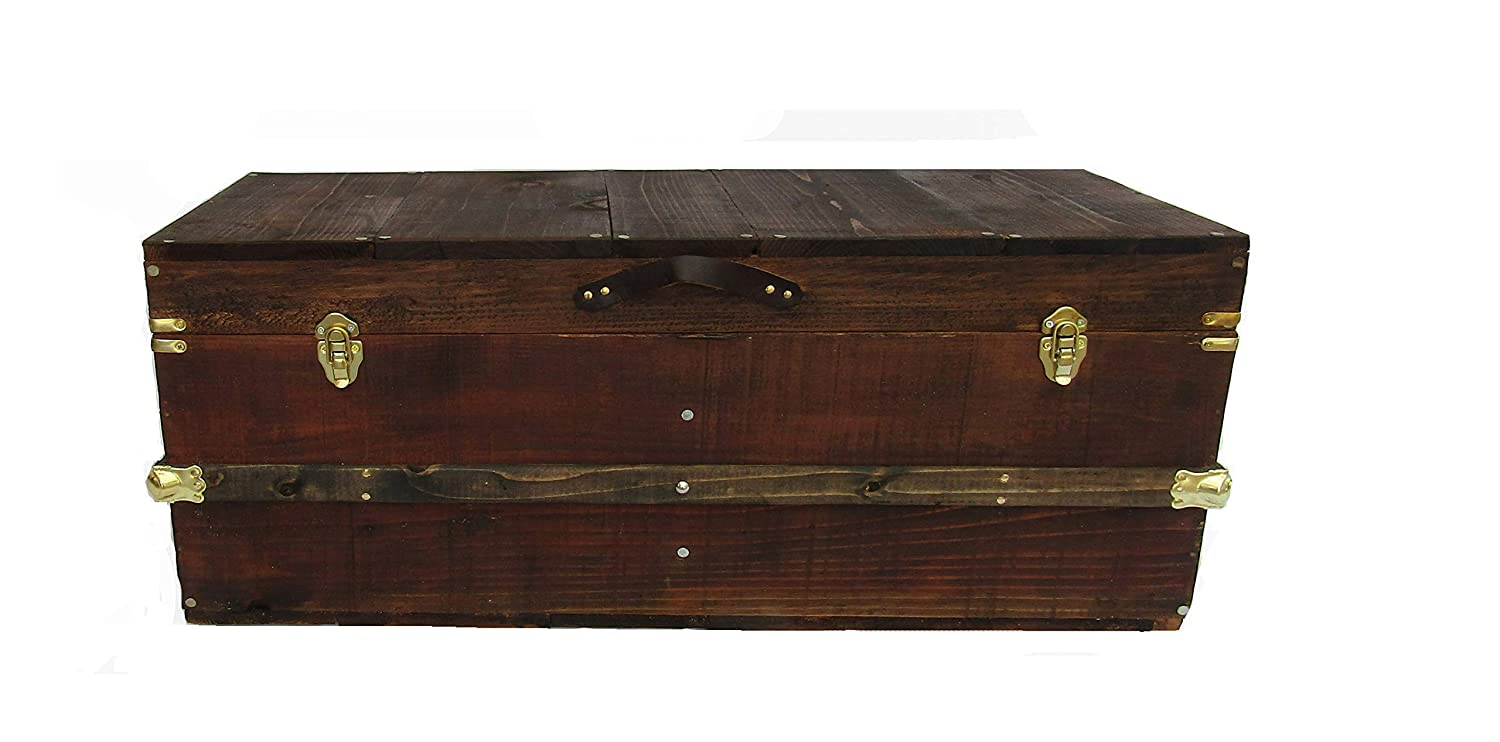 Amazon Com Rustic Coffee Table Trunk Wooden Storage Chest Steamer Trunk Farmhouse Style Crate Trunk Line Handmade