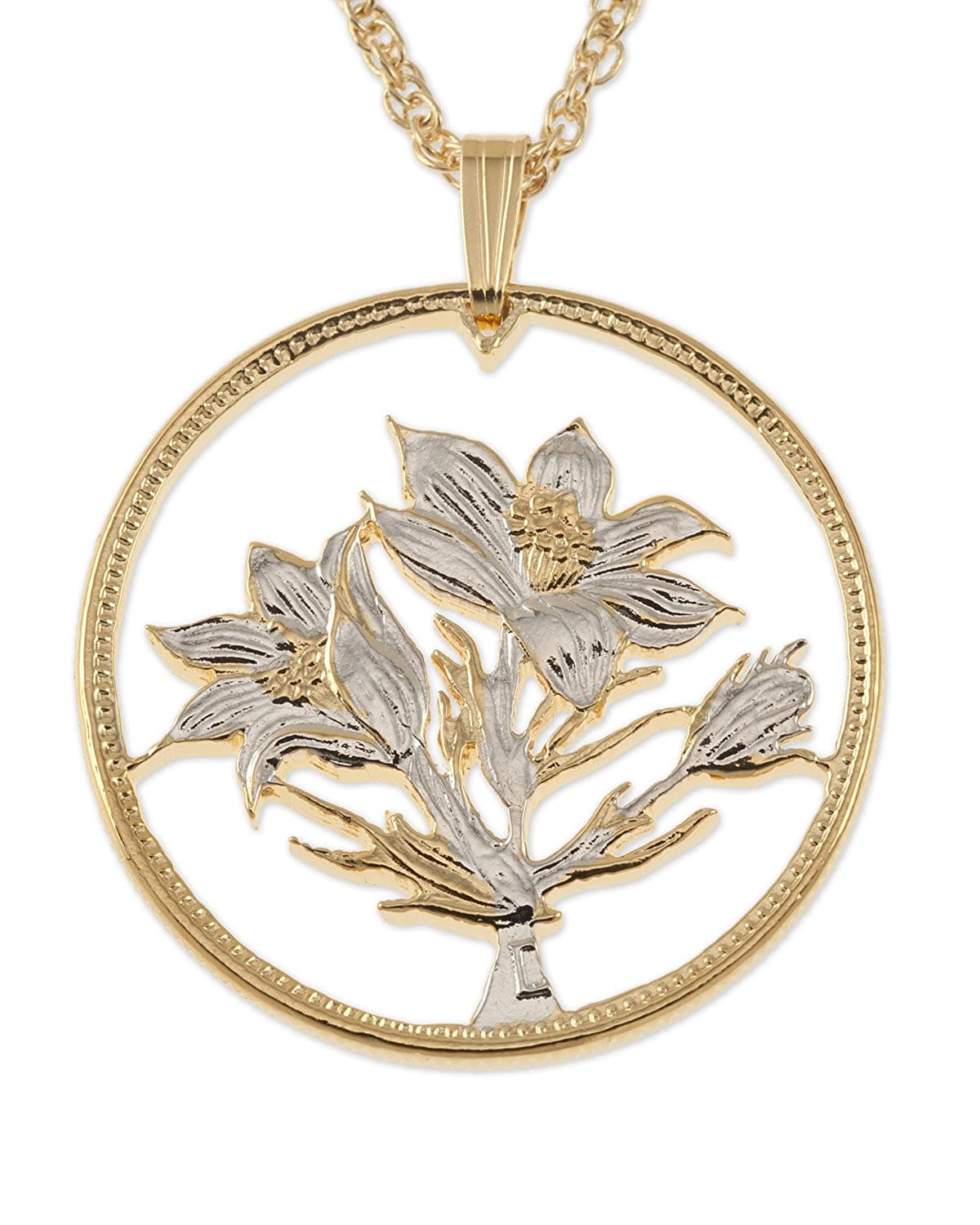 Manitoba Issue Flower Pendant /& Necklace Canadian One Dollar