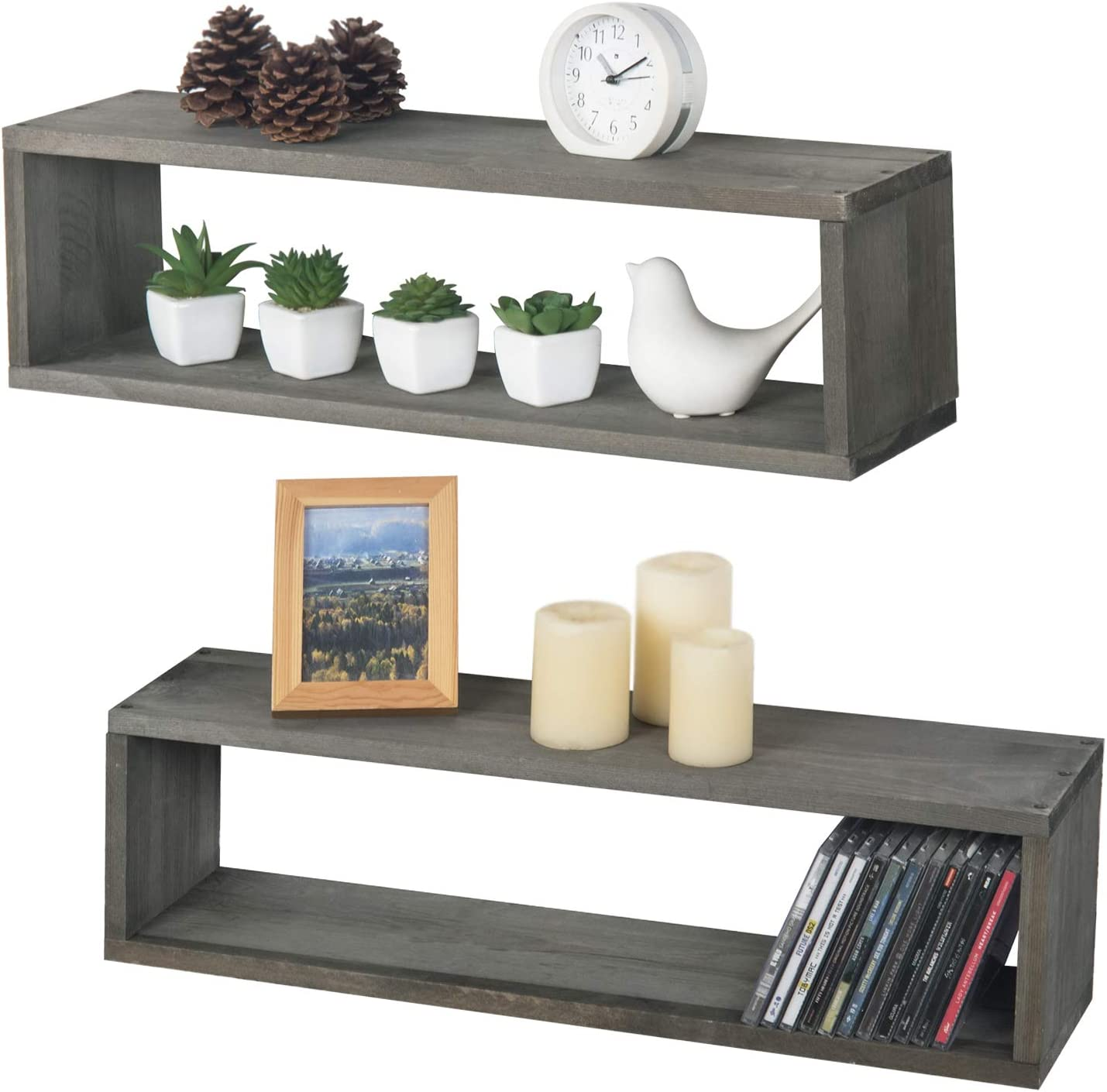 MyGift 24 Inch Wall Mounted Gray Wood Cubby Floating Shelves, Set of 2