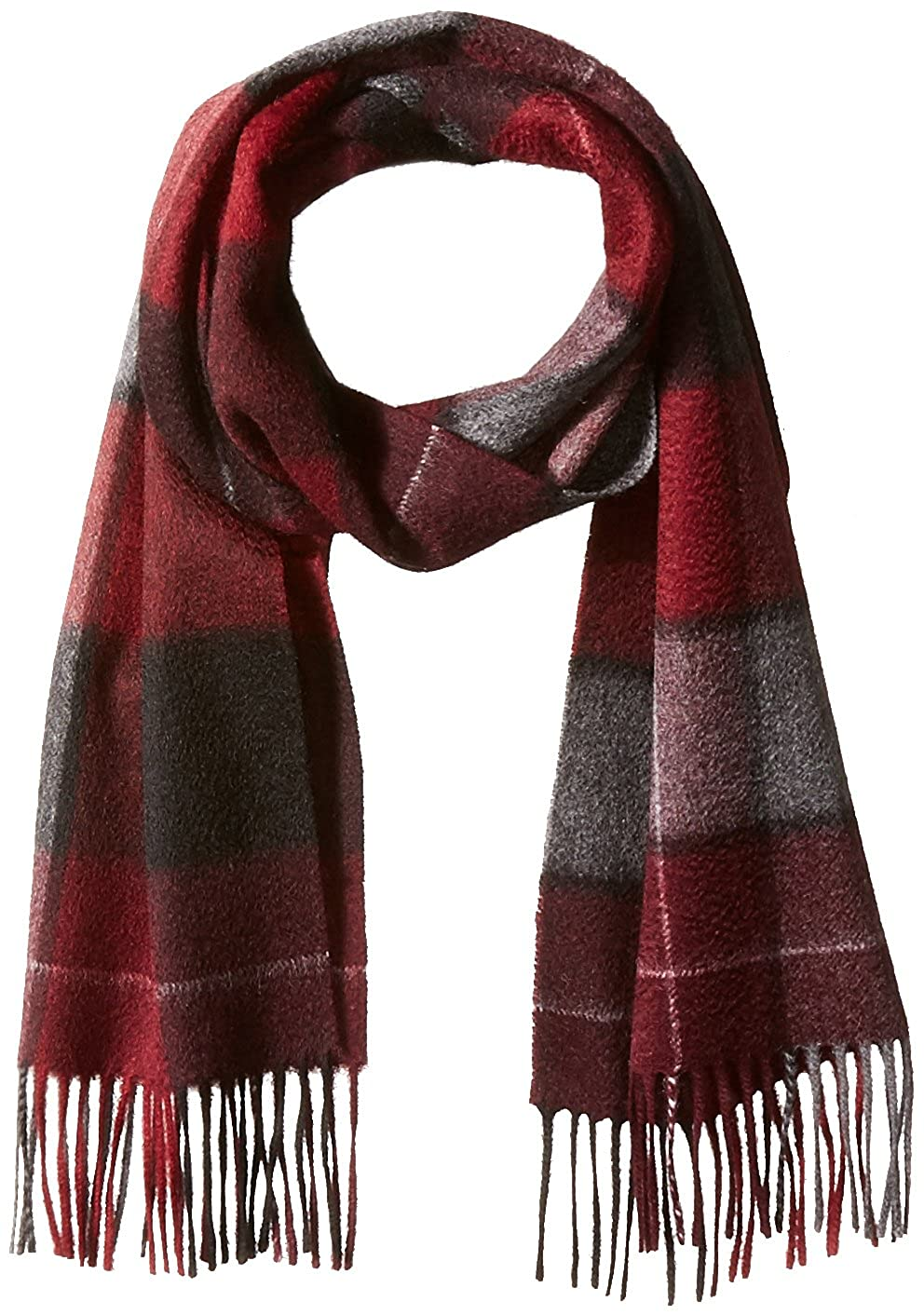 Phenix Cashmere Men's Cashmere Large Checkered Plaid Scarf Port/Grey One Size SCW-2910