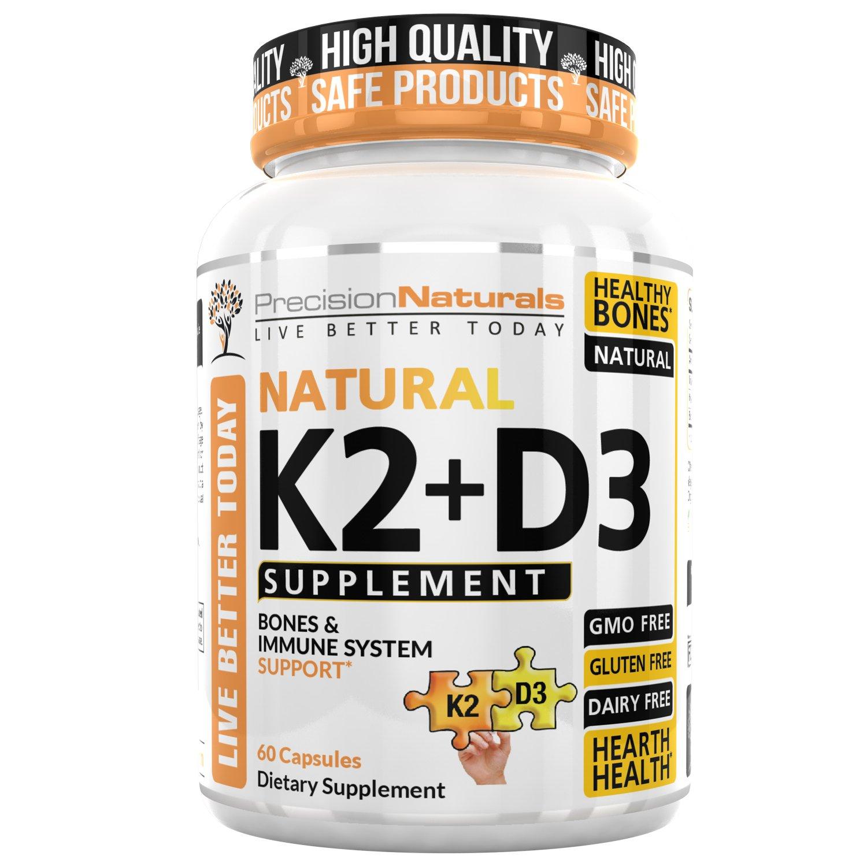 Amazon Vitamin K2 D3 MK7 Capsules 100mcg 5000iu 60 Ve arian Capsules Supports Strong Healthy Bones Plus Heart Health Supplement Non GMO Natural