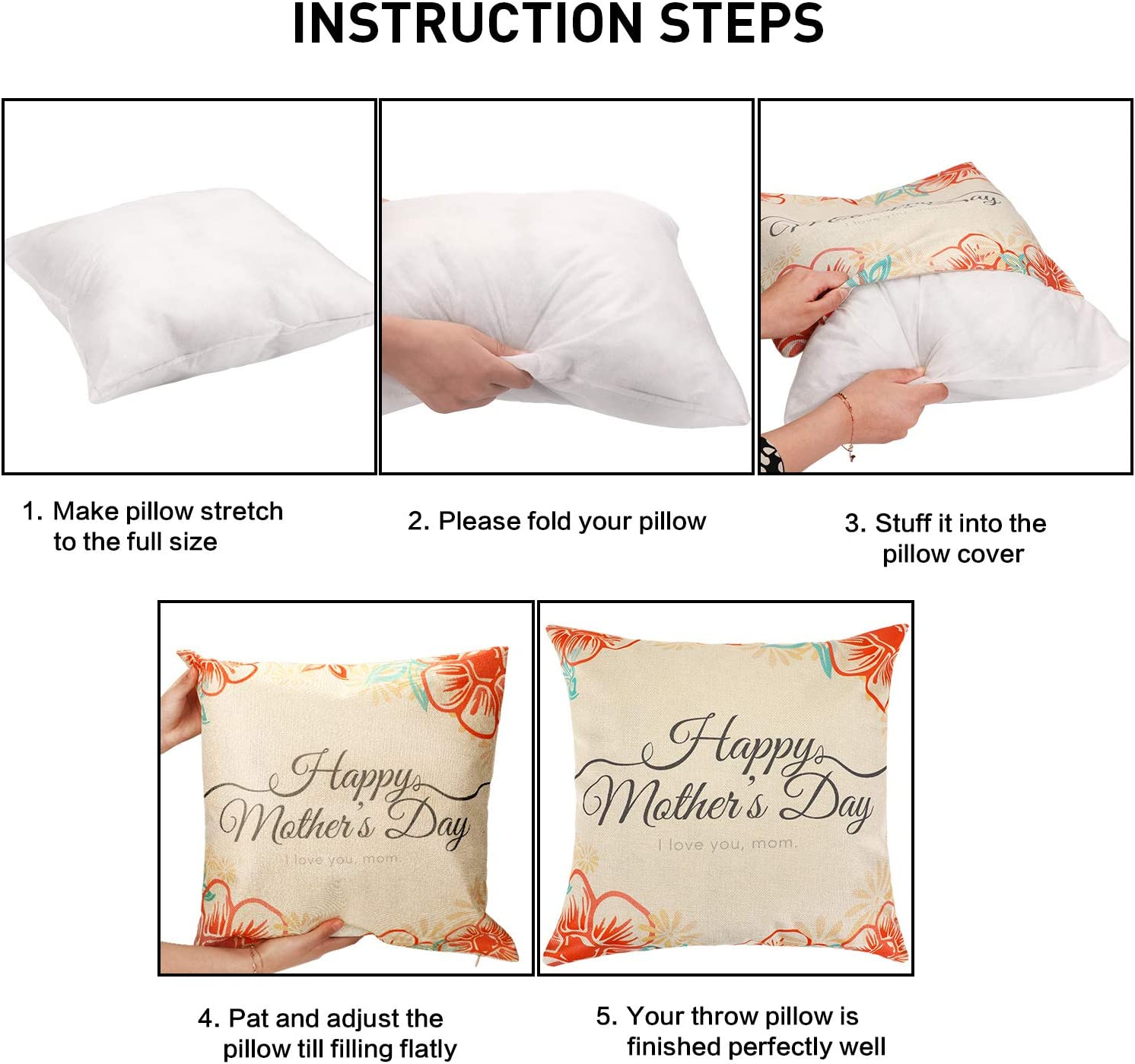Style Set 3 Chinco 4 Pieces Mothers Day Pillow Case Throw Cushion Cover Decorative Pillow Cover for Mothers Day Birthday Party Supplies 18 x 18 Inches