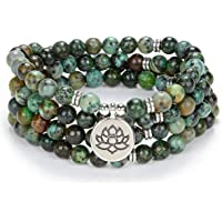 oasymala Chanting Mala Prayer Beads 108 Necklace Bracelet for Meditation with Tiny Lotus Flower Charm