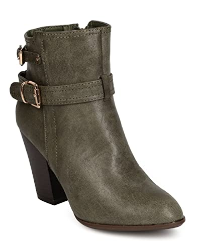 7a3da4ac7df Nature Breeze FF41 Women Leatherette Almond Toe Buckled Chunky Heel Bootie  - Olive (Size